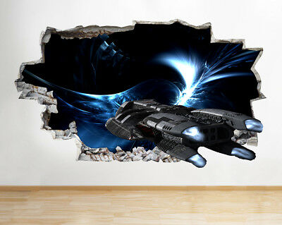 Wall Stickers Spaceship Cool Boys Light Fly Smashed Decal 3D Art Vinyl Room F082 • 22.99£