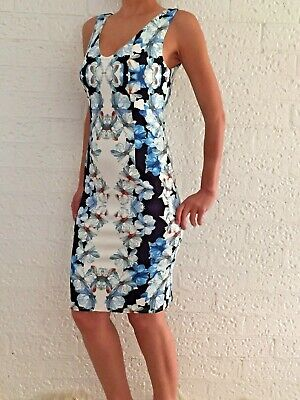 AU38 • Buy Women's Stretchy Blue Sleeveless Bodycon Floral Cocktail Midi Dress Size 8-10-12
