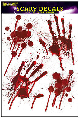 Halloween Bloody Blood Hand Print Stickers Scary Zombie Party Prop Spooky Decor • 2.75£