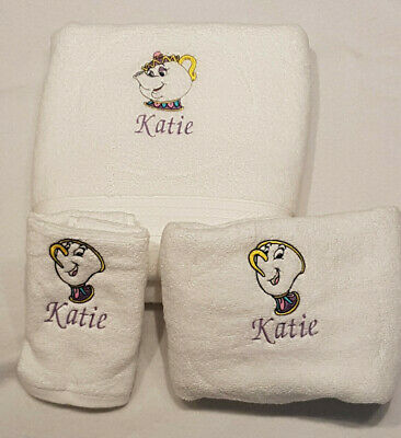 Personalised Embroidered Mrs Potts & Chip Face Cloth Towels Flannel Xmas Gift • 14.95£