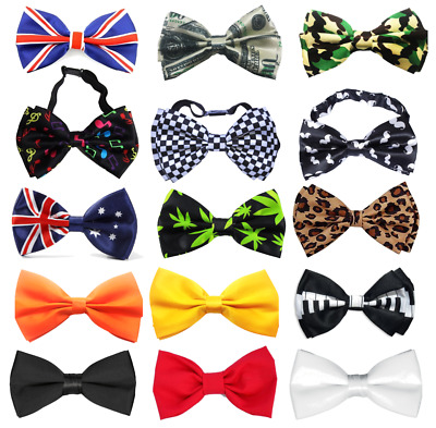£3.49 • Buy Satin Bow Clip On Tie Wedding Mens Great For Fancy Dress Unisex Funky 26 Designs