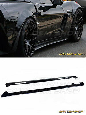 05-13 PAINTED BLACK CHEVROLET CORVETTE C6 SIDE SKIRTS EXTENSION Base Model Only • 280$