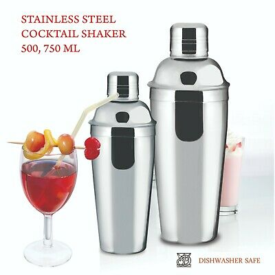 Evokk Cocktail Shaker & Mixer Stainless Steel Drink Pub Party Martini 500/750 ML • 7.99£
