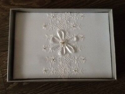 Wedding Guest Book In White With Lace Pattern On Front • 10.99£