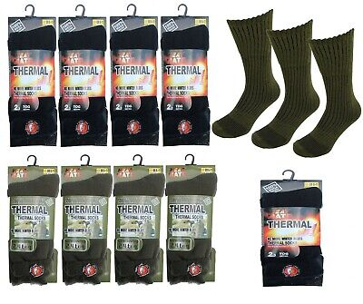 Men's Thermal Heat Mate Socks Thick Warm Winter Chunky 2.3 Tog & Long Military  • 3.99£