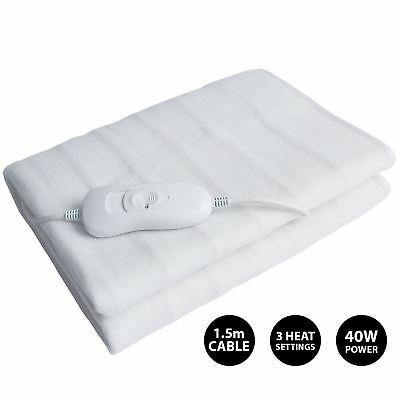 £19.99 • Buy Electric Heated Blanket White Single, Double & King Home 3 Heat Setting Washable