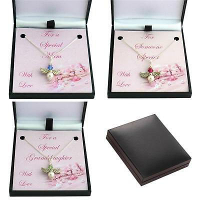 Birthstone Necklaces With Angel On Silver Chain. Gift For Mum, Daughter, Etc • 11.99£