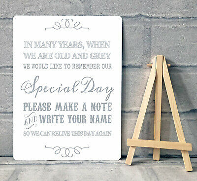 £8.95 • Buy A5 Guest Book Wishing Tree Hearts Drop Box Table Sign Wedding Party & Easel GREY