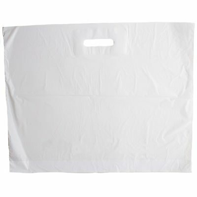 100 X Strong LARGE WHITE Patch Handle  22  X 18  + 3 Carrier Retail Plastic Bags • 8.95£
