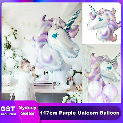 AU5.39 • Buy 117cm Huge Purple Unicorn Foil  Balloon Fantasy Horse Girls Birthday Party Decor