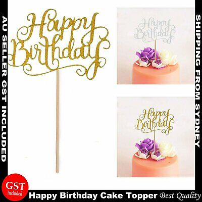 AU5.99 • Buy Happy Birthday Cake Topper Glod Silver  Glitter Party Parties Event Decorations