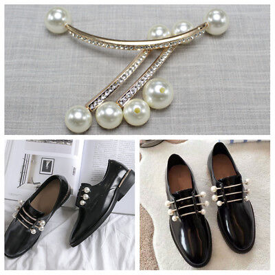 £7.59 • Buy 1 Pair Pearl Shoe Buckles Women Vintage Pointed Boots Charms Shoes Clips Decor