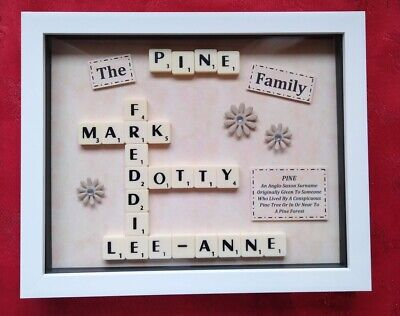 FAMILY Scrabble FRAME Personalised Picture Gift KEEPSAKE Christmas Birthday • 23.99£