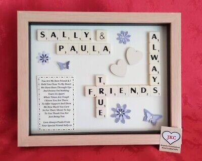FRIEND Personalised GIFT BOX FRAME Picture Keepsake SCRABBLE Christmas Birthday • 23.99£
