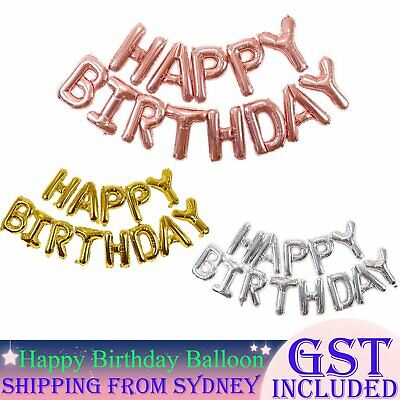 AU1.99 • Buy 40cm 3D Happy Birthday Letters Balloons Inflating Foil Banner Bunting Celebrate