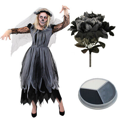 Ladies Ghost Bride Costume Halloween Fancy Dress Womens Zombie Corpse Outfit • 26.99£