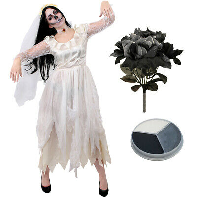 Ladies Ivory Ghost Bride Costume Halloween Fancy Dress Womens Zombie Corpse • 22.99£