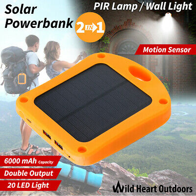 AU22.95 • Buy 2In1 Portable Solar Power Bank 6000mah External Battery Charger PIR LED Lamp Wal