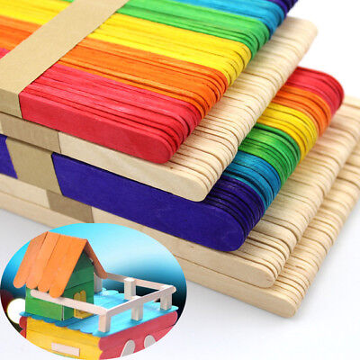Wooden Sticks Coloured Natural Lollipop Popsicle Ice Lolly Arts Cake Craft Model • 1.29£