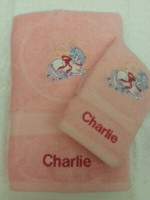 Personalised Unicorn Towel Set Christmas Gift Present Hand Towel And Face Cloth • 14£