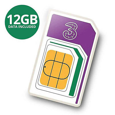 View Details New 3 PAYG 4G Trio Data SIM Pack Preloaded With 12GB Of Data Three Sizes  • 26.99£