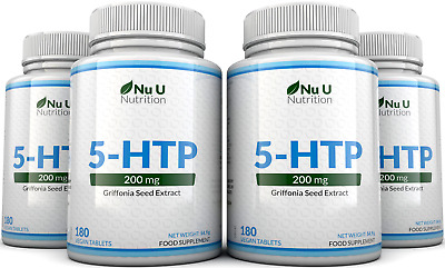 AU66.75 • Buy 5HTP 200mg 4 Bottles 720 Tablets UK Manufactured 100% Money Back Guarantee Nu U