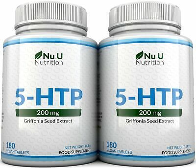AU37.06 • Buy 5HTP 200mg Supplement 2 Bottles 360 Tablets 100% Money Back Guarantee By Nu U