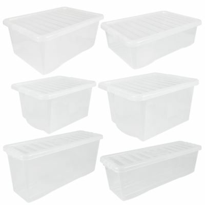 £12.99 • Buy Wham Crystal Clear Plastic Storage Box Secure Clip On Lid-Under Bed Space Save