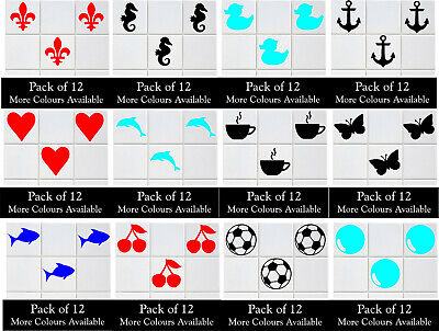Pack Of 12 Tile Stickers Kitchen Bathroom Vinyl Wall Art Decals Decor • 3.99£