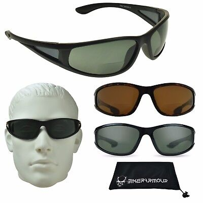 1fa55d993c Polarized Bifocal Sunglass Readers Side Shield Motorcycle Sport Fishing  Glasses • 27.99