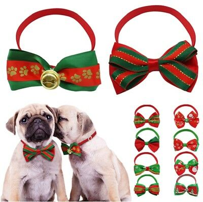 Christmas Cat Dog BowTie Collar With Bell Adjustable Collar Puppy Bow Tie Xmas  • 2.69£
