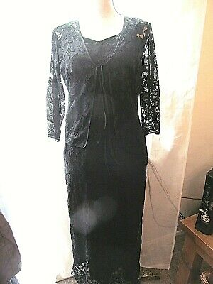 Long Lacey Evening Black Dress And Jacket Size 12 • 15£