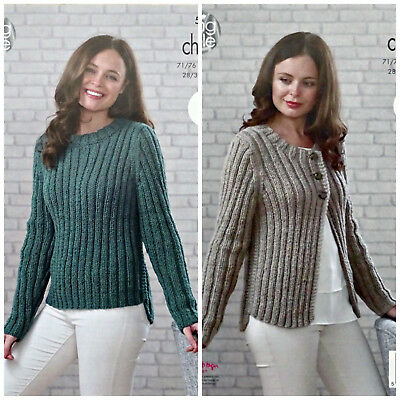 KNITTING PATTERN Ladies EASY KNIT Rib Jumper & Cardigan Chunky King Cole 5033 • 3.95£