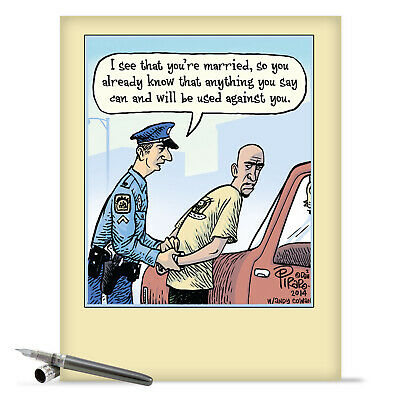 $9.62 • Buy J9774 Jumbo Funny Anniversary Card: Married Arrest With Matching Envelope Cards
