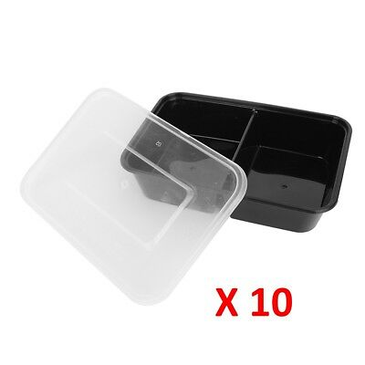 10 Pc Microwave 2 Compartment Plastic Lunch Box Food Storage Meal Prep Container • 6.90£