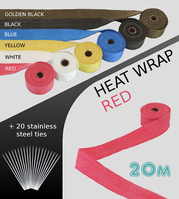 UNIVERSAL CAR BIKE EXHAUST HEAT WRAP With Ties-20 METRE RED 20M-RED-HON2 • 99.99£