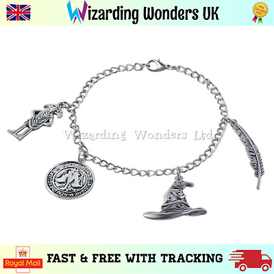 Harry Potter Silver Charm Bracelet With Free Gift Bag UK Dobby Sorting Hat • 4.15£