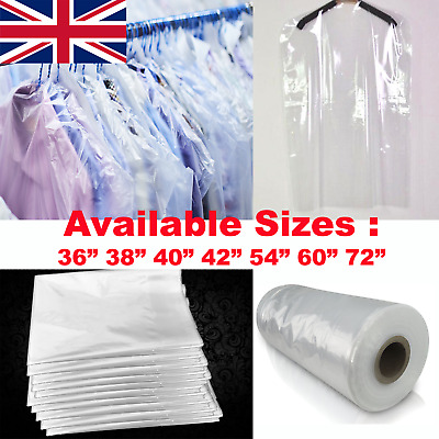 £6.29 • Buy Clear Garment Protection Cover Long Dress Suit Shirt Cloth Plastic Bag Poly Roll