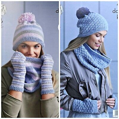 KNITTING PATTERN Ladies Easy Knit Cowl Hat & Fingerless Gloves DK King Cole 4869 • 3.95£