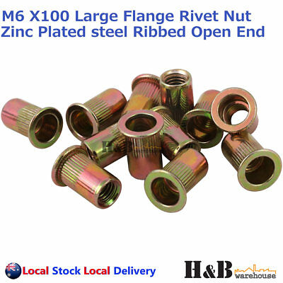AU16 • Buy M6 X 100 Nutserts Rivet Nuts Flange Blind Rivnuts Zinc Plated Steel Nut Nutsert
