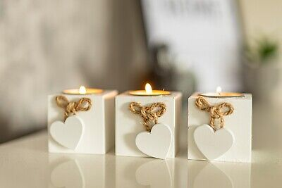 NEW 3pc White Rustic Wooden Cube Tea Light Candle Holders Love Heart Shabby Chic • 7.99£