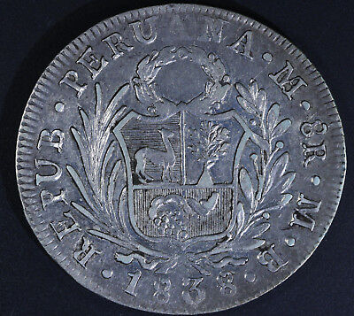 AU227.14 • Buy 1838 PERU 8 Reales Silver Coin KM#155