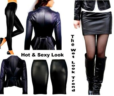 New Womens Wet Look Pvc Sexy Bodycon Dress Mini Skirt Top Leggings Plus Size • 4.49£