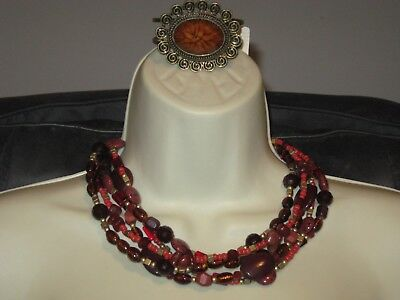 $ CDN33.32 • Buy LOT OF 2: Lia Sophia POMEGRANATE NECKLACE & CATO ANTIQUE GOLD BRACELET (NON LS)
