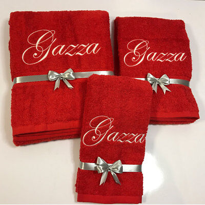 New EMBROIDERED PERSONALISED BATH TOWEL Ideal Gift Set ANY NAME Combet Cotton • 11.99£