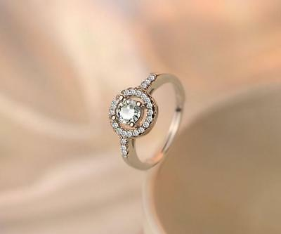 $8.99 • Buy 925 Sterling Silver Pave CZ Halo Engagement Solitaire Adjustable Ring RS20