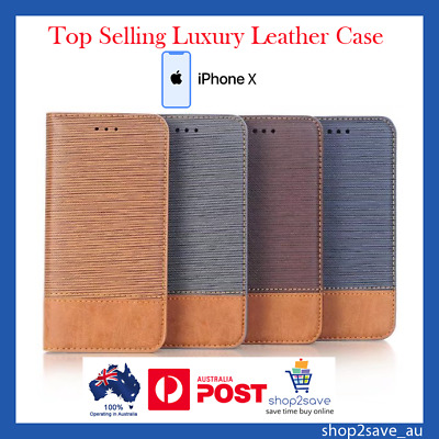 AU14.60 • Buy IPhone X Luxury Wallet Business Leather Flip Case With TPU Shell Card Holder