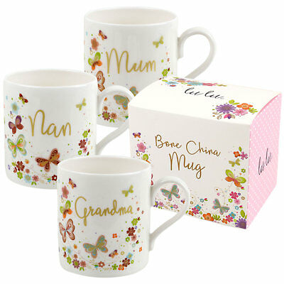 New Cute Butterfly Flowers Nan Grandma Mum Bone China Mug/Cup By Lulu GiftBox • 9.99£