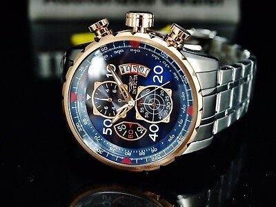 $ CDN107.60 • Buy Invicta Men's 48mm Aviator Chronograph Blue Dial 18K Rose Gold Plated SS Watch