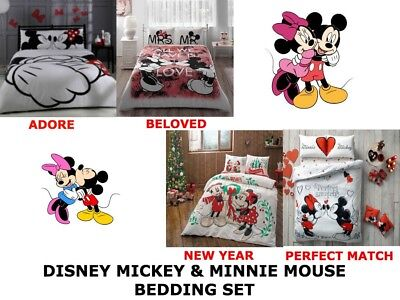 £68.09 • Buy Disney MICKEY MINNIE MOUSE Double Queen Size Duvet Quilt Cover Bedding Set